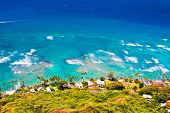 Beautiful Beach of Oahu,Hawaii taken from Diamond Head