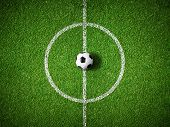 stock photo of grass area  - soccer field center and ball top view background - JPG