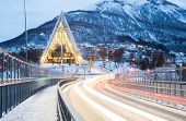 image of tromso  - Tromso Arctic Cathedral Church in Norway at dusk twilight - JPG