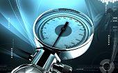 stock photo of bp  - Digital illustration of sphygmomanometer in colour background - JPG
