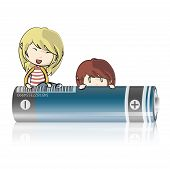 Kids On Battery. Vector Design.