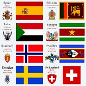 stock photo of north sudan  - world flags of Spain Sri Lanka Sudan Suriname Svalbard Swaziland Sweden and Swiss Confederation with capitals geographic coordinates and coat of arms vector art illustration - JPG