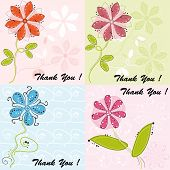 Set of four greeting cards with cute flowers