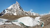 stock photo of skardu  - Trekking on the mighty Baltoro Glacier in the Karakorum Mountains in Pakistan - JPG