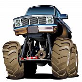 picture of monster-truck  - Vector Cartoon Monster Truck isolated in white background - JPG