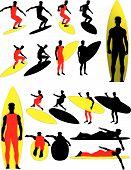 Постер, плакат: Серфер векторных силуэтов