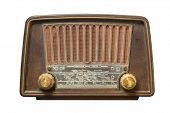 Old radio from fifties on white background