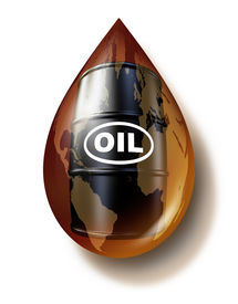 stock photo of fuel economy  - Petroleum industry and fossil fuel business as a world map on an oil drop with a drum barrel can of gasoline fuel as a commodities concept for energy resources - JPG