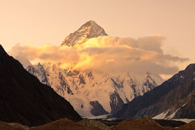 stock photo of skardu  - Sunset at K2 the second highest peak in the world Karakorum Mountains Pakistan - JPG