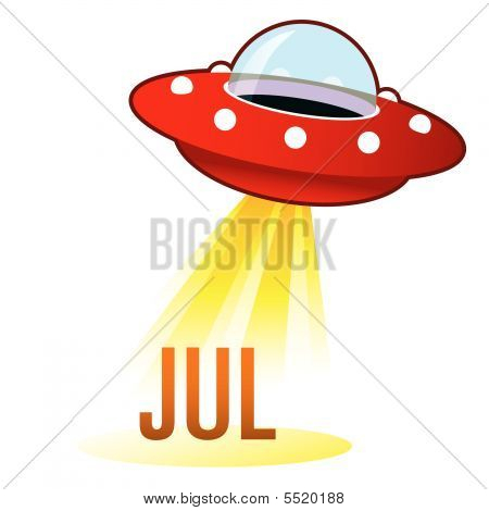 July Month Icon On Retro Ufo