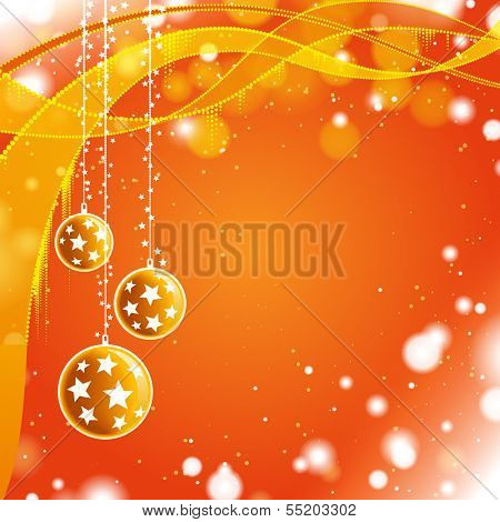 Vector illustration of orange christmas abstract shine background with Christmas decorations