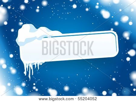 Frozen signpost with blue ice background