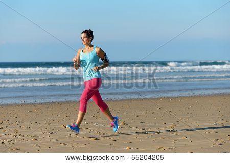 Running For Fitness On Beach