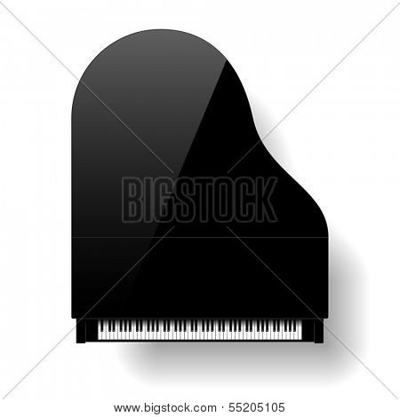 Black grand piano top view. Vector.