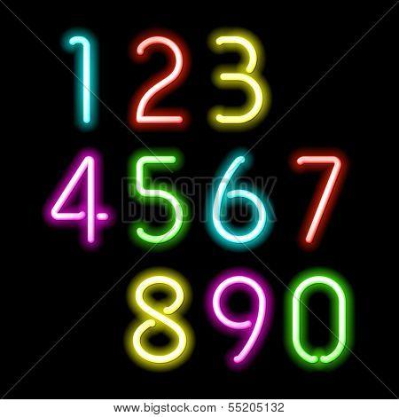 Neon numbers. Vector.