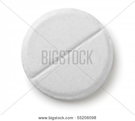 Single white pill isolated on white