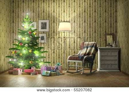old styled interior with christmas tree and armchair