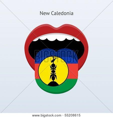 New Caledonia language. Abstract human tongue.