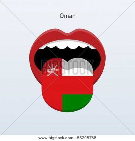 Oman language. Abstract human tongue.