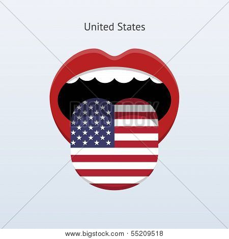 United States language. Abstract human tongue.