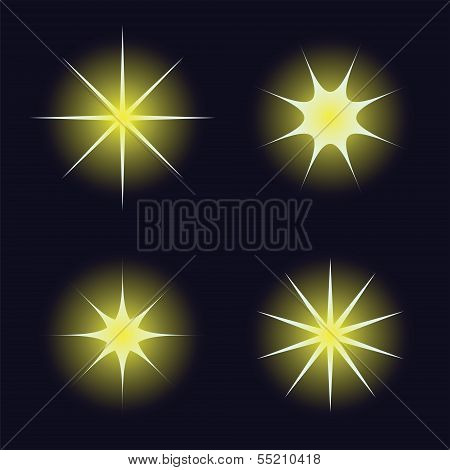 Star Samples On The Dark Blue Background