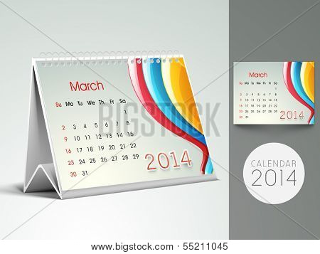 New Year 2014 desk calender or March month planner.