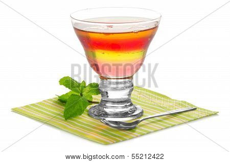 Glass with fruit jelly
