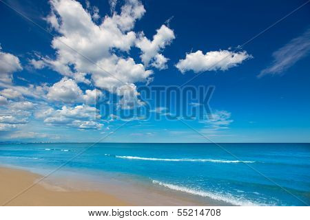 Beautiful beach in White Coast of Alicante Denia under summer blue sky