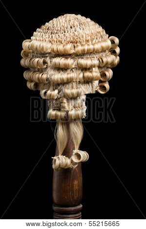 Back view of an authentic barrister's or judge's wig