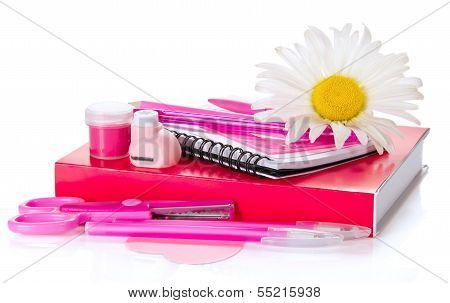Pink school supplies