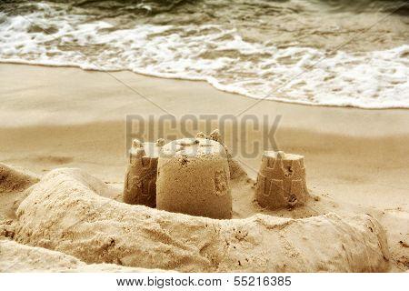 Sandcastles as the beach
