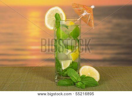 Cold drink with a lemon slice