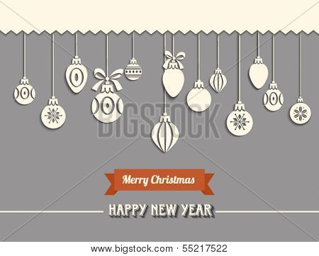 Paper Cutout Christmas Baubles - White lacy Christmas baubles with Merry Christmas banner and Happy New Year greeting, on gray background