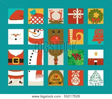 Christmas Icon Squares - Santa Clause, snowman and reindeer squares that fit together puzzle-style, plus various individual pieces, including Christmas tree, gift box, holly, Christmas bell and bauble