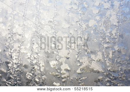 Frosted Window In Winter Background