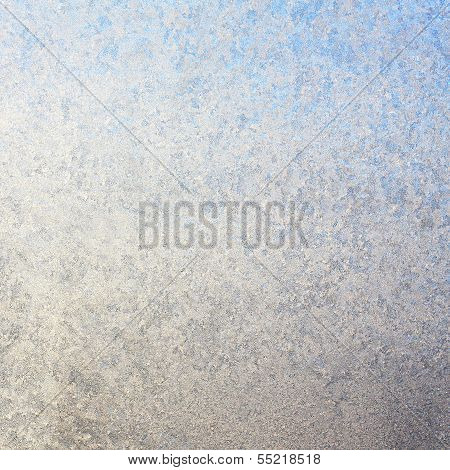 Frosty Square Window In Winter Background