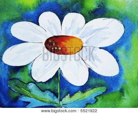 Daisy On Blue Green Background