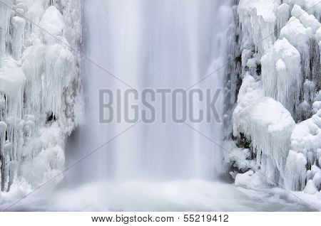 Multnomah Falls Frozen In Winter Closeup