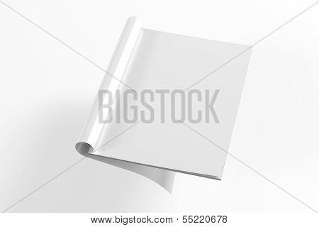 Blank Opened Full Turn Magazine Isolated On White
