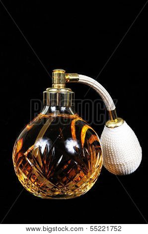 Glass perfume bottle.