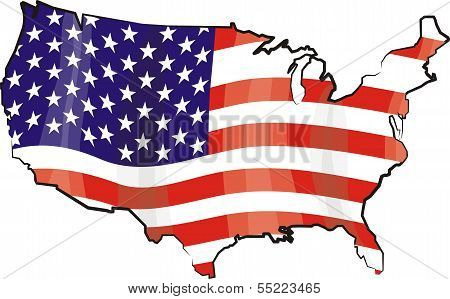 usa - map and flag