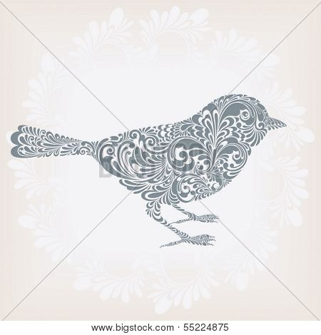 Silhouette of a cute bird ornamented with floral pattern, vector illustration