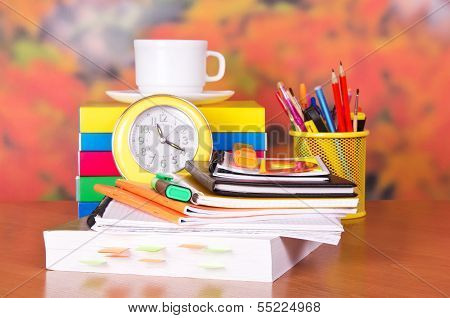 Open book and other school supplies