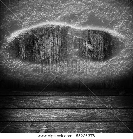 Background Wooden Panel Boards Grey Shoe Print Snow