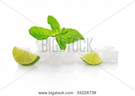 Ice for cocktail, lime slices and spearmint