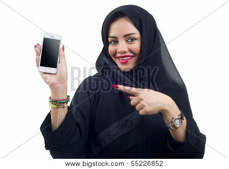 Beautiful Arabian model holding a cell phone on an isolated background