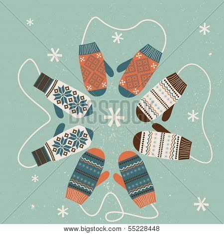 Christmas Decoration With Mittens. Vector