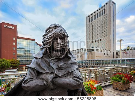 Captain Harlock Sculpture at Kokura Station in Kitakyushu