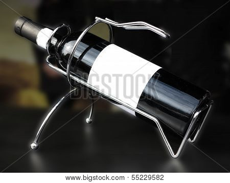 White Label Wine Bottle In Support