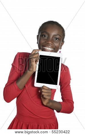 African Girl Showing Tablet Pc